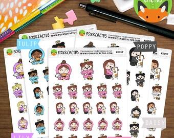 Crazy Dog Lady Kawaii Girls - Doggo Dog Mum Dog Mom Pet Animal - Planner Stickers (K0097)