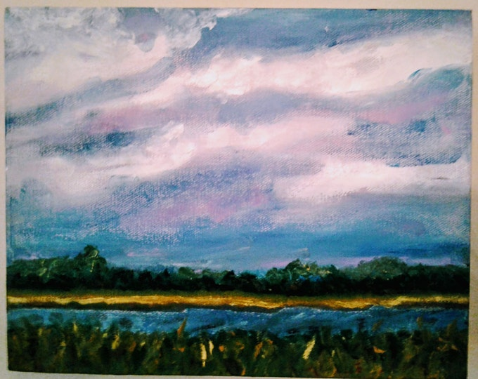 "Free Ship: ""Salt Marsh Sky""  - Plein Air Oil Painting Offered by Artist"