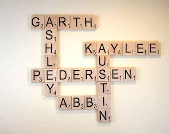 "Large Scrabble Tiles - 2.5"" Large Scrabble Letters  - Scrabble Wall Art - Personalized Wood Scrabble Letters - Giant Scrabble Letters - LST"