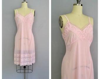 Spun Sugar slip   1960s pink lace slip   60s nylon boudoir lingerie   s - m