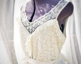 Ivory vintage lace upcycled wedding dress, boho wedding dress