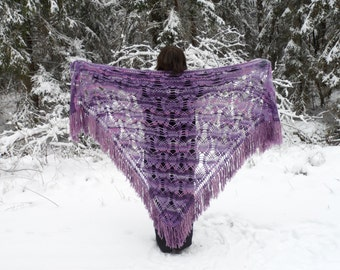 Crochet Mohair Shawl, Mother Day Gift, Handmade Triangle Lace Shawl, Lilac Lavender Wrap, Gift For Her, Large Shawl, Plus Size, Fringe Shawl