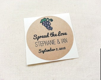 60 Grape Jelly Wedding Mason Jar Labels / Stickers / Wedding Favors / Thank You Gifts / Once Upon Supplies