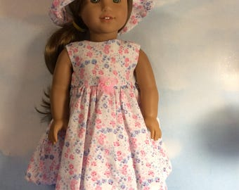 """Pink floral dress and matching hat fits 18"""" American girl doll"""