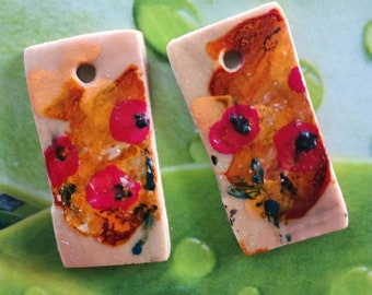 POPPIES on porcelain cold charms hand made spring earrings
