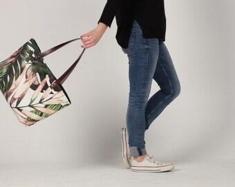 Canvas Tote Bag, Beach tote Bag, Casual Tote Bag, leaves tote Bag, Summer bag, leaves Bag, tropical tote bag, Lagut, plants bag, Mothers day