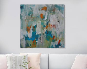 """Large ORIGINAL Abstract Painting Square Oil Painting On Canvas Impasto Fluid Painting Textured Landscape Wall Art 39"""" X 39"""" Inches"""