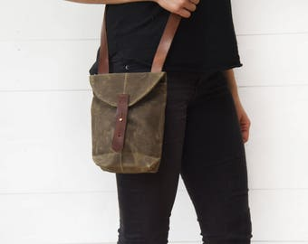 Waxed Canvas Hunter Satchel Truffle, Waxed Canvas Crossbody Bag, Travel Bag, Gift for Women, Brown, Fanny Pack, Birthday Gift, Gift for Men
