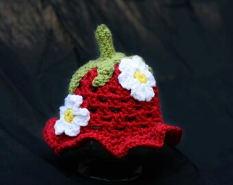 Baby Strawberry Hat with Ripple Brim- MADE to ORDER- Newborn to child size