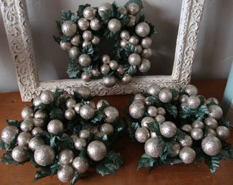 Christmas candle ring wreath glittered gold bulbs christmas centerpiece kitchen table decor mini wreath floral