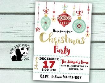 Christmas Party Invitation, Christmas Party Invite, Christmas Ornament Invitation, Holiday Party Invite, Gold Writing,Digital Invitation,41