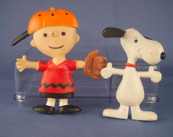 Vintage Snoopy & Charlie Brown Rubber Playables (Set of 2) by Determined