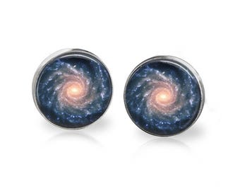 Spiral Galaxy Stud Earrings Astronomy Space Jewelry Hypoallergenic Surgical Steel Studs