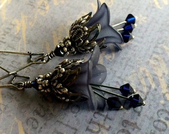 Lily of the Night Earrings, Midnight Blue Flower Earrings, Evening Wedding, Bridesmaid Earrings, Vintage Style Bridal Jewelry
