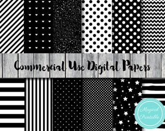 Black and White Digital Papers, Instant Download Digital Paper, Commercial Use, Scrapbook Digital Papers, Digital Background, DP20