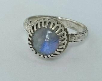 Sterling silver handmade moonstone ring, hallmarked in Edinburgh