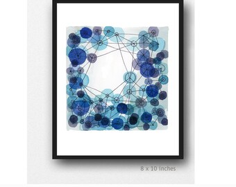 geometrical art, abstract watercolor indigo blue circles, constellation, watercolor print cobalt blue