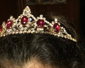 Husar Vintage Rhinestone Tiara, Vintage Rhinestone Crown, Rhinestone Bridal Crown, Crystal Tiara, Crystal Crown, Cosplay Crown