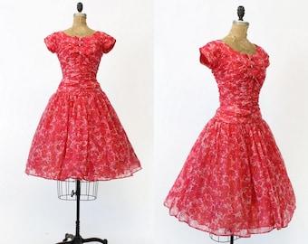 50s Dress Rose Print Small / 1950s Vintage Dress Organza Floral / Field of Flowers Dress