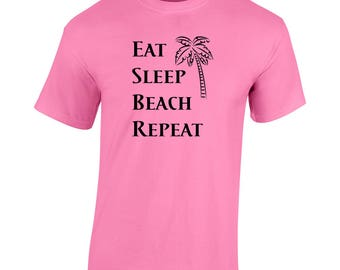 Eat Sleep Beach Repeat Women's T-Shirt Funny Graphic Vacation Palmtree