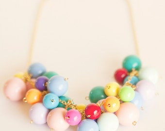 Chunky Statement Necklace Beaded Jewelry Bead Cluster Color Colorful Multicolor Rainbow Gumball Gum Ball Candy Retro Mod Unique Womens Gift
