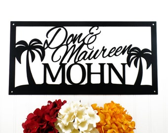 Custom Beach House Metal Sign   Palm Trees   Family Name Sign   Name Sign   Metal Wall Art   Outdoor Sign   Tropical   Beach