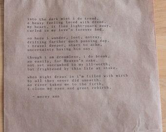 into the dark mist i do tread - paper bag print