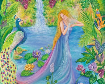 Water Nymph fantasy art 27x39 20x27 13x20 canvas giclee. Print by VardaFreierLevyArt