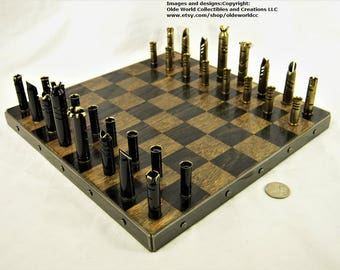 Mixed Caliber Bullet Shell chess set and Optional 11 inch steel banded wooden board #1220170047 -Free Shipping to U.S.