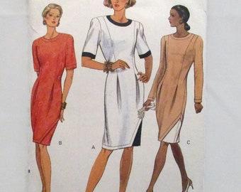 Vogue 8076 Easy Misses/Misses Petite Dress Fitted Straight Dress Hemline Inserts Front Pleats Size 14-16-18 UNCUT