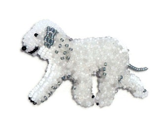 BEDLINGTON TERRIER keepsake beaded dog pin pendant art jewelry (Made to Order)