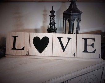 Love Scrabble Tiles, Valentine's Day gift, Valentine's Day Decor