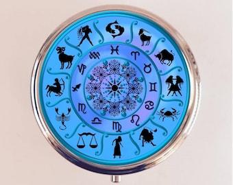 Antique Zodiac Pill Box Case Pillbox Holder Trinket Stash Box Astrology Astrological Occult Blue