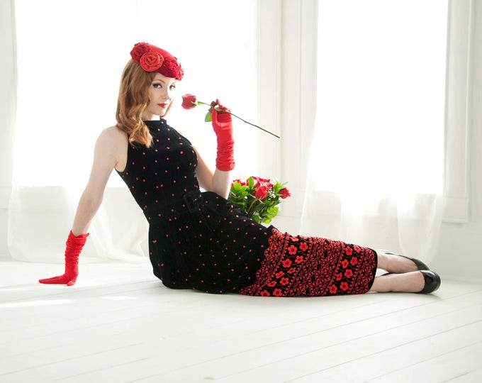 Vintage black velvet dress, red floral embroidery, polka dots, sleeveless maxi formal gown, XS S Lillie Rubin 1950s 1960s