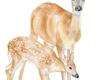 Doe and Fawn Watercolor Painting 5x7 Giclee Print Reproduction Nursery Art Woodland Animal