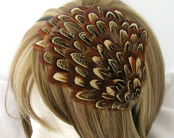 Amber brown almond patterned feather fascinator blank Base (5 fastener option) feather cap,fascinator for mardi gras, kentucky derby