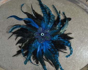 Feather Fascinator READY TO SHIP black, blue, and purple with evil eye