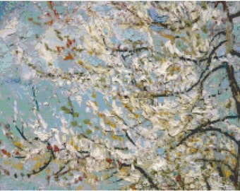 Vincent Van Gogh Flowering Pink Peach Tree Detail Counted Cross Stitch Pattern Chart PDF Download by Stitching Addiction