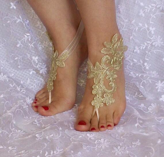 Gold bridal barefoot sandals, Bridal Accessories, dance shoes, Party, Shoe accessories, wedding bridal bohemian gold