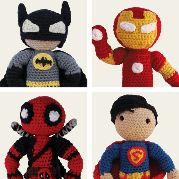 Heroes: Batman, Superman, Iron Man & Deadpool. Amigurumi Pattern PDF.