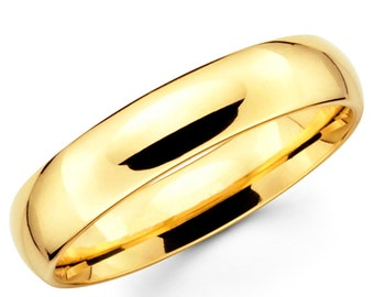 10K Solid Yellow Gold 5mm Plain Wedding Band Ring