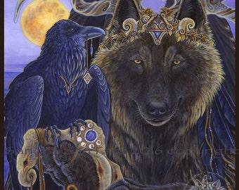 Angel Winged Wolf Raven King Print