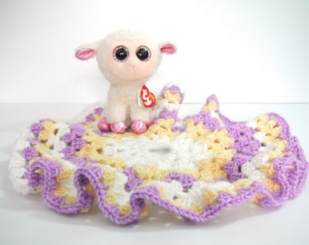 Crochet Baby Lamb Lovey (Lamb Included) - Crochet Beanie Baby Lovey - Crochet Baby Girl Lamb Lovey - Interchangeable Baby Blanket