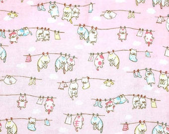 Japanese Fabric double gauze cat - pink - 50cm