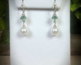 Swarovski Erinite & Pearl Earrings