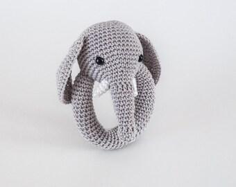 Baby Rattle,Elephant Rattle,Crochet Baby Rattle,Baby Shower Gifts,Baby Gift,Amigurumi Rattle,Infant Rattle,Nursery Toy,Rattle,Plush Rattle