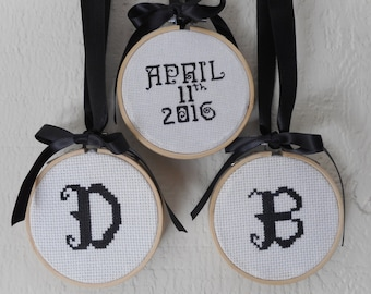 Personalized Wedding Gift Cross Stitched 3 inch Hoops w/ Initials and Date Wedding Keepsake Wedding Momento Cross Stitched Bundle Baby Gift