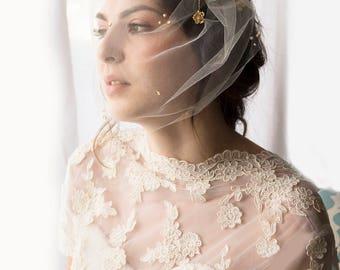 Wedding veil, tulle birdcage veil, blusher veil, birdcage veil, tulle blusher veil, fascinator veil, gold veil, full birdcage veil, veil