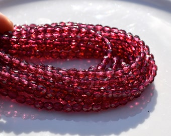 Fuschia Magenta 4mm Faceted Fire Polish Round Beads   50