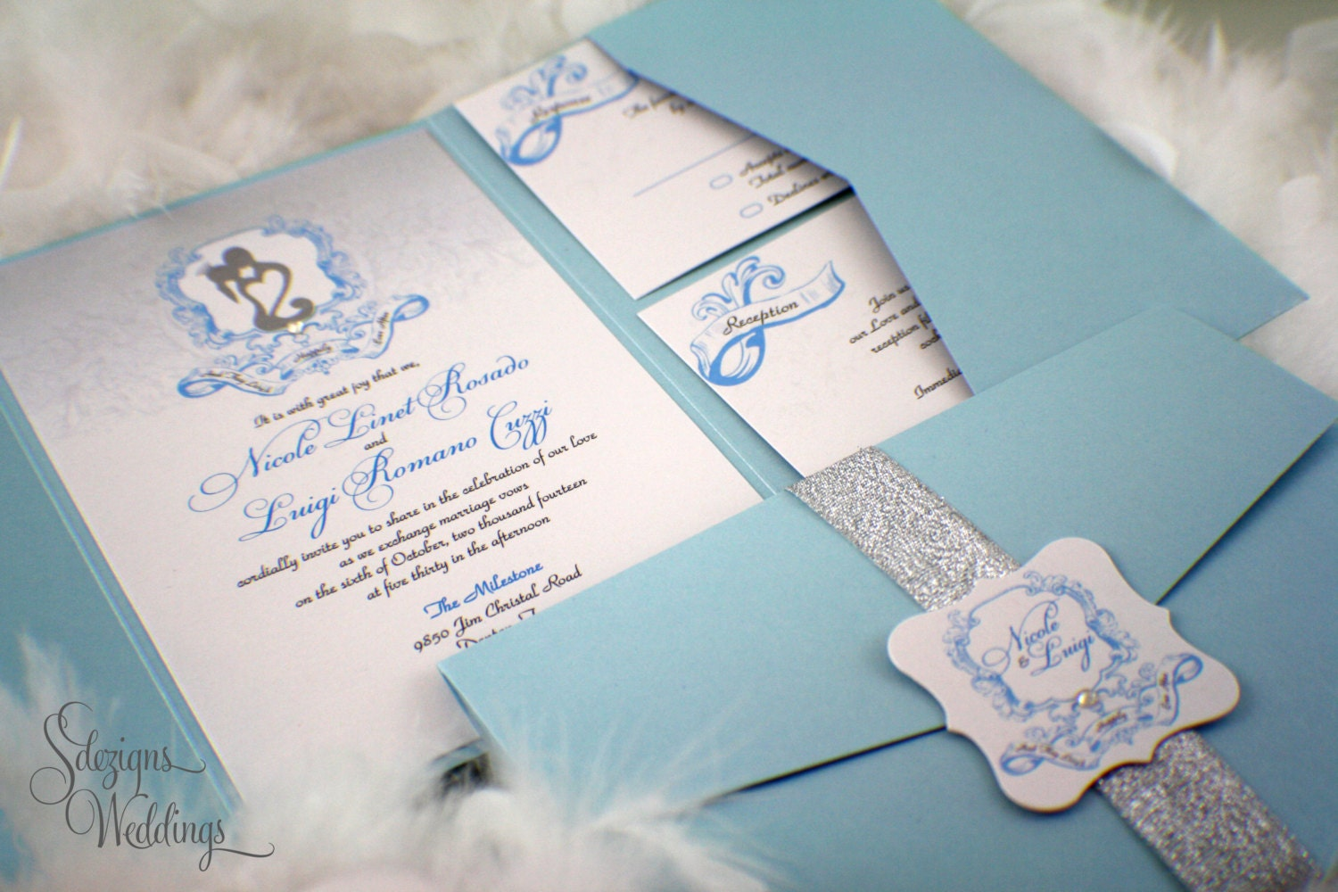 Fairy tale Wedding Invitations Whimsical Shimmery